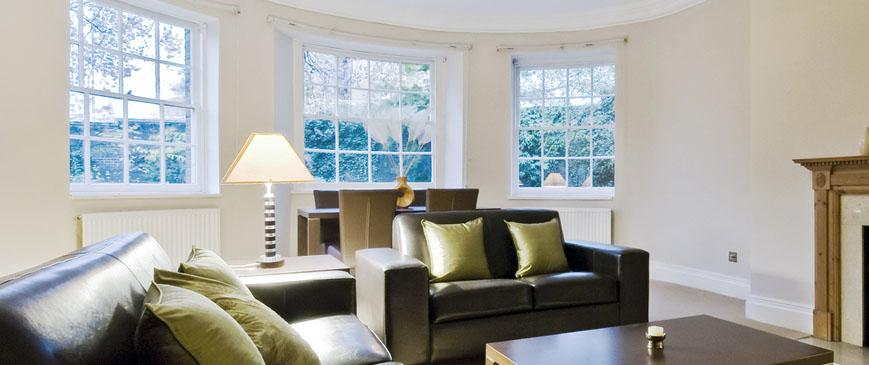 bay windows in living room