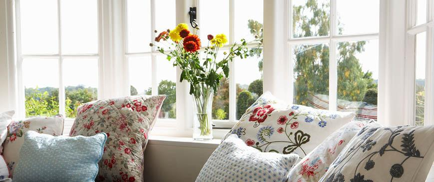 cottage windows and cushions
